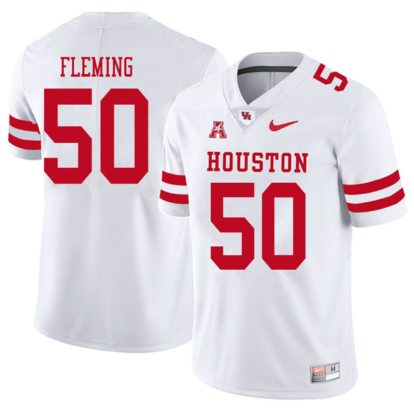 2018 Men #50 Aymiel Fleming Houston Cougars College Football Jerseys Sale-White - Click Image to Close