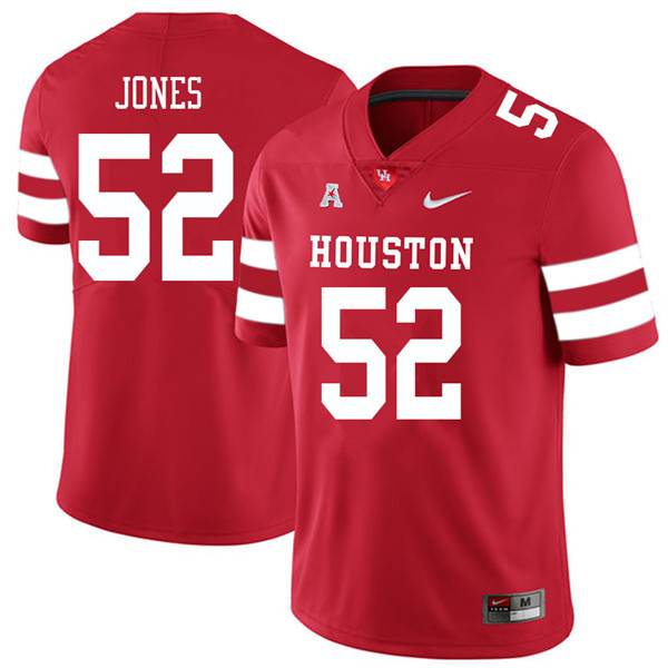 2018 Men #52 Braylon Jones Houston Cougars College Football Jerseys Sale-Red