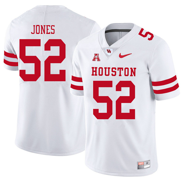 2018 Men #52 Braylon Jones Houston Cougars College Football Jerseys Sale-White