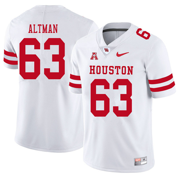 2018 Men #63 Colson Altman Houston Cougars College Football Jerseys Sale-White