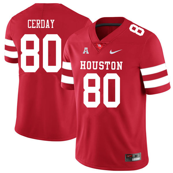 2018 Men #80 Colton Cerday Houston Cougars College Football Jerseys Sale-Red