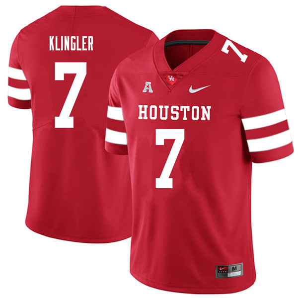 2018 Men #7 David Klingler Houston Cougars College Football Jerseys Sale-Red