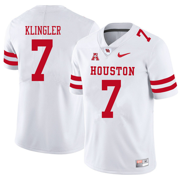 2018 Men #7 David Klingler Houston Cougars College Football Jerseys Sale-White