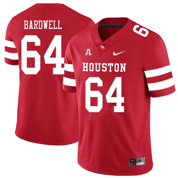 2018 Men #64 Dennis Bardwell Houston Cougars College Football Jerseys Sale-Red