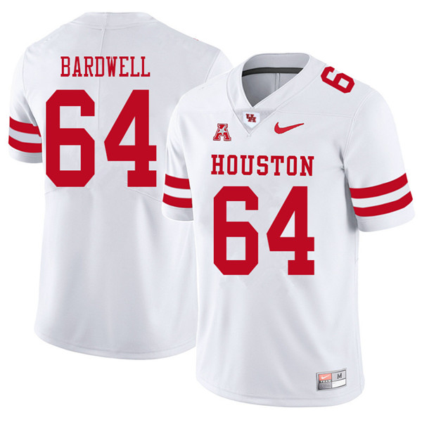 2018 Men #64 Dennis Bardwell Houston Cougars College Football Jerseys Sale-White