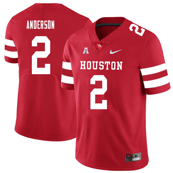 2018 Men #2 Deontay Anderson Houston Cougars College Football Jerseys Sale-Red