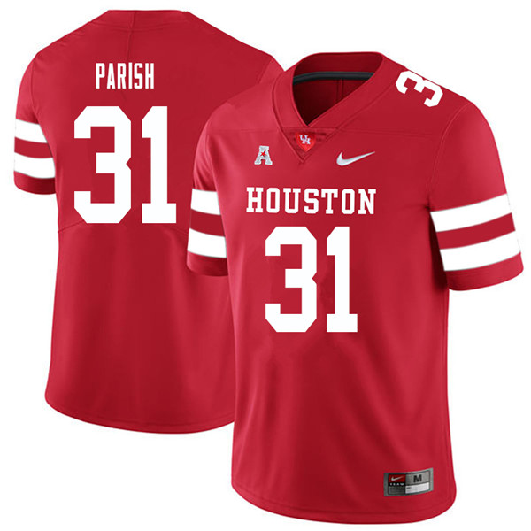 2018 Men #31 Derek Parish Houston Cougars College Football Jerseys Sale-Red