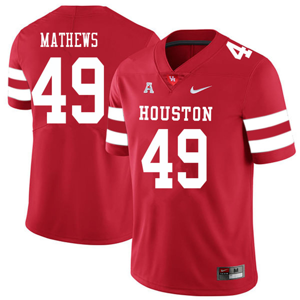 2018 Men #49 Derrick Mathews Houston Cougars College Football Jerseys Sale-Red