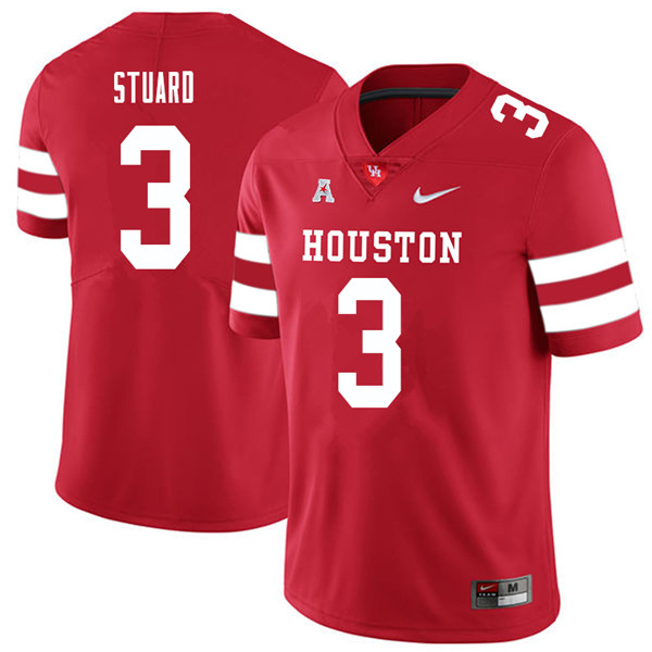 2018 Men #3 Grant Stuard Houston Cougars College Football Jerseys Sale-Red
