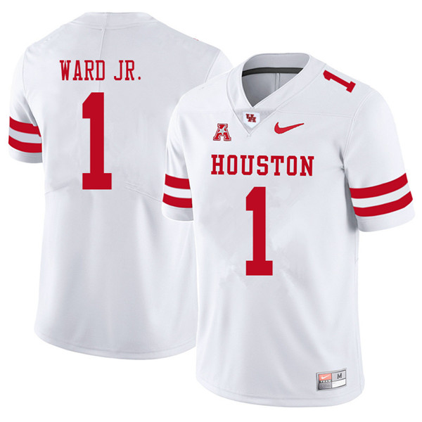 2018 Men #1 Greg Ward Jr. Houston Cougars College Football Jerseys Sale-White