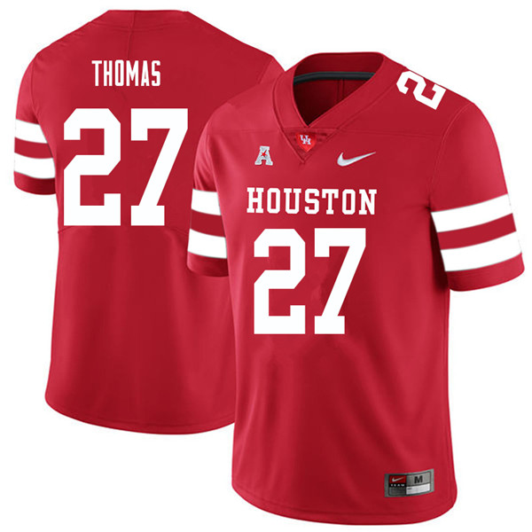 2018 Men #27 Henry Thomas Houston Cougars College Football Jerseys Sale-Red