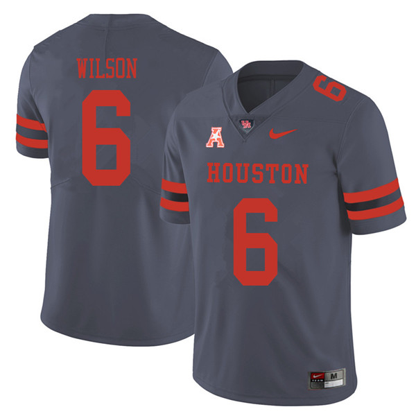 2018 Men #6 Howard Wilson Houston Cougars College Football Jerseys Sale-Gray