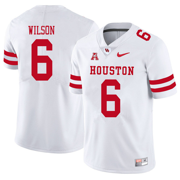2018 Men #6 Howard Wilson Houston Cougars College Football Jerseys Sale-White