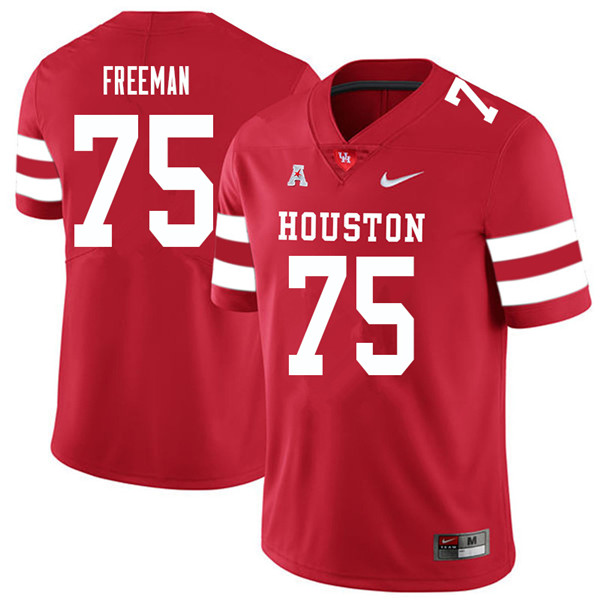 2018 Men #75 Jack Freeman Houston Cougars College Football Jerseys Sale-Red