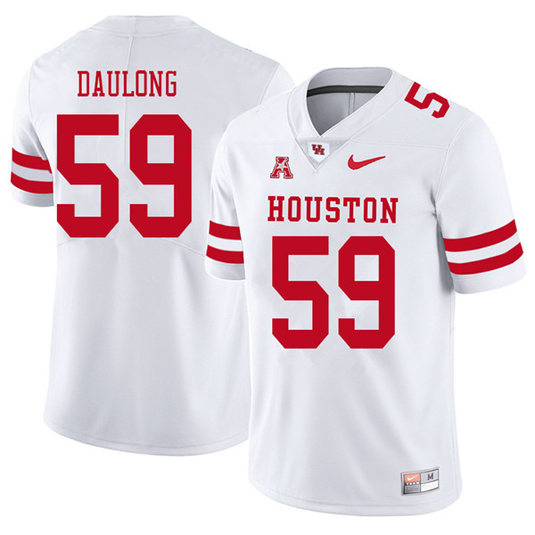 2018 Men #59 Jacob Daulong Houston Cougars College Football Jerseys Sale-White