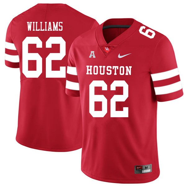 2018 Men #62 Jarrid Williams Houston Cougars College Football Jerseys Sale-Red