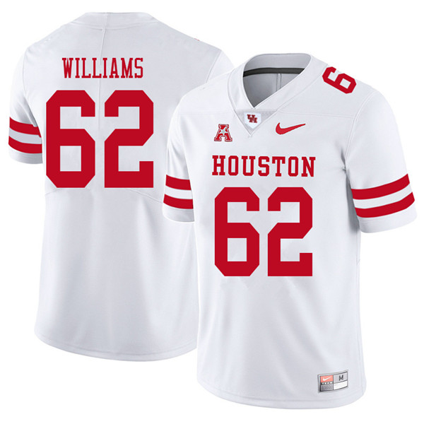 2018 Men #62 Jarrid Williams Houston Cougars College Football Jerseys Sale-White