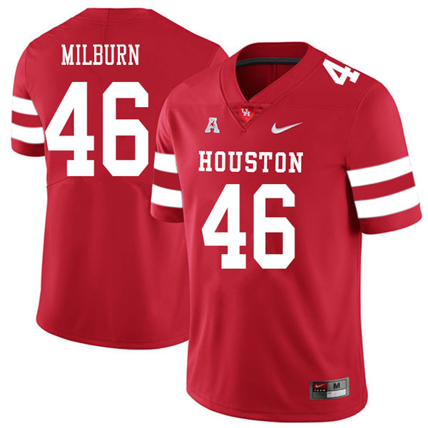 2018 Men #46 Jordan Milburn Houston Cougars College Football Jerseys Sale-Red