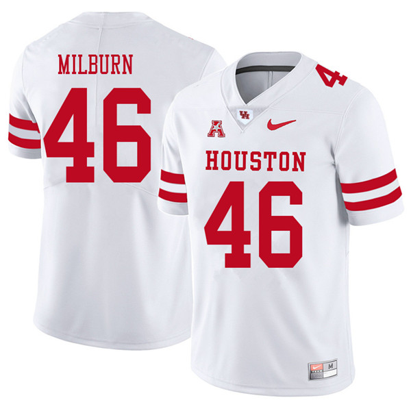 2018 Men #46 Jordan Milburn Houston Cougars College Football Jerseys Sale-White