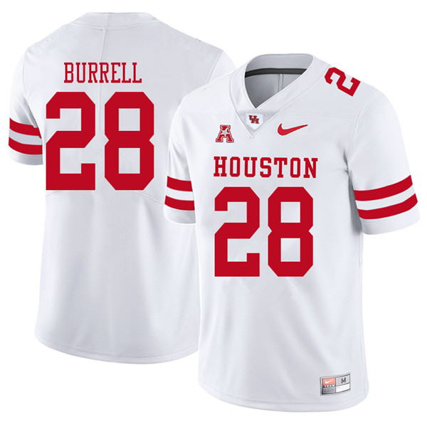 2018 Men #28 Josh Burrell Houston Cougars College Football Jerseys Sale-White