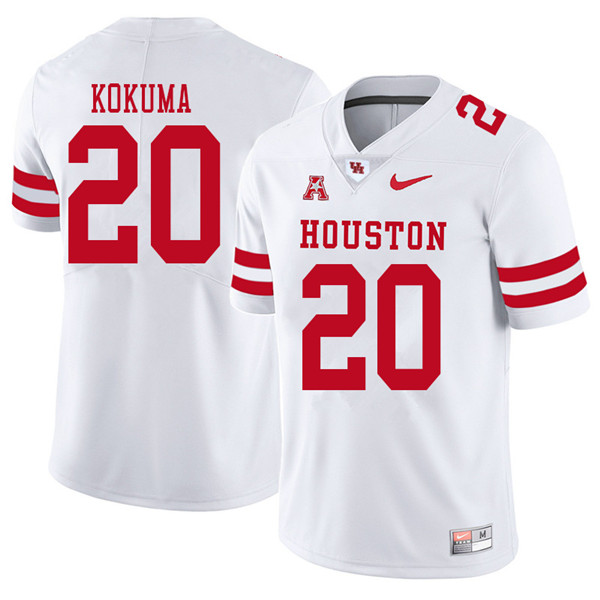 2018 Men #20 Kaliq Kokuma Houston Cougars College Football Jerseys Sale-White