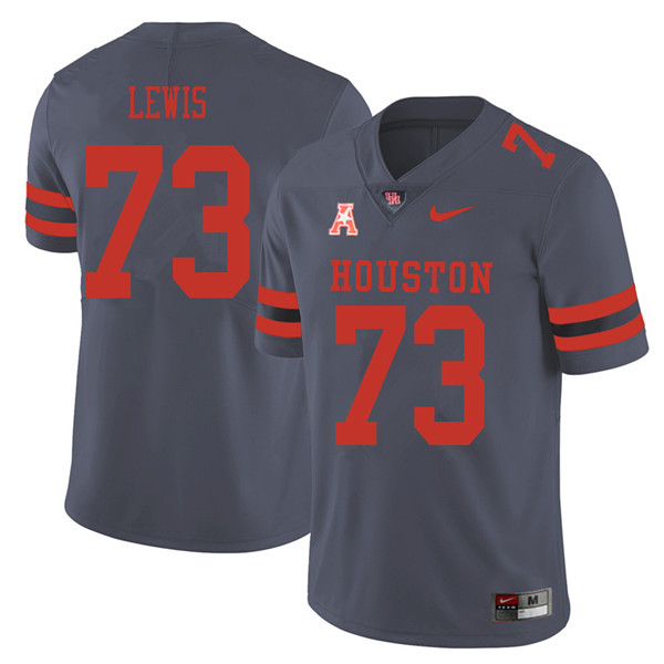 2018 Men #73 Kameron Lewis Houston Cougars College Football Jerseys Sale-Gray