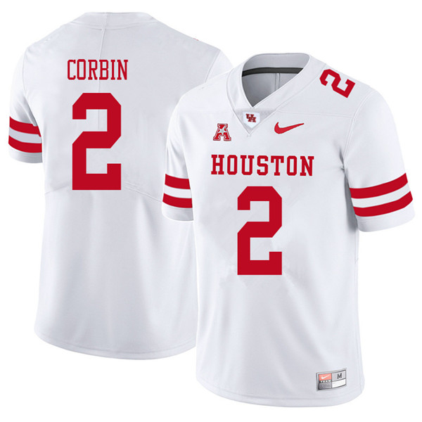 2018 Men #2 Keith Corbin Houston Cougars College Football Jerseys Sale-White