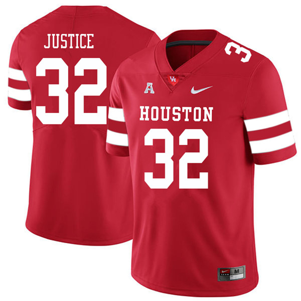 2018 Men #32 Kevrin Justice Houston Cougars College Football Jerseys Sale-Red