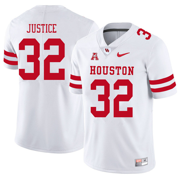 2018 Men #32 Kevrin Justice Houston Cougars College Football Jerseys Sale-White