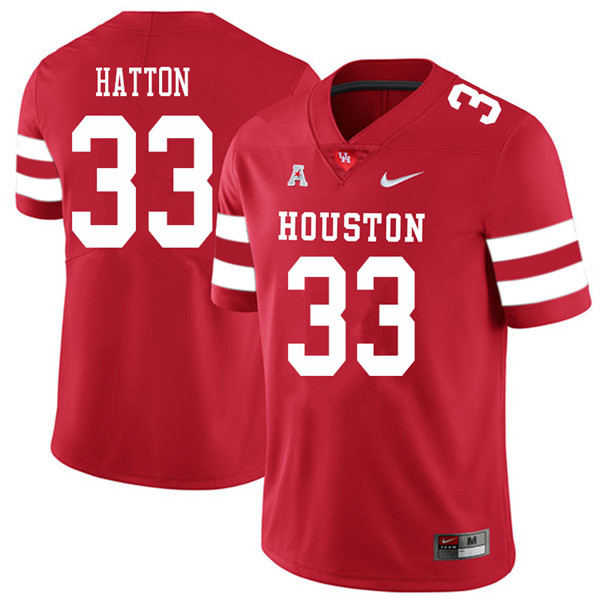 2018 Men #33 Kinte Hatton Houston Cougars College Football Jerseys Sale-Red