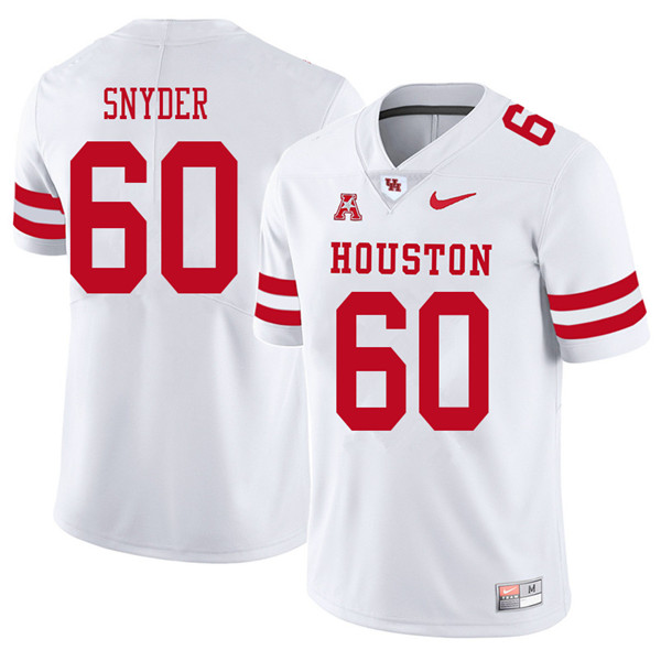 2018 Men #60 Kordell Snyder Houston Cougars College Football Jerseys Sale-White