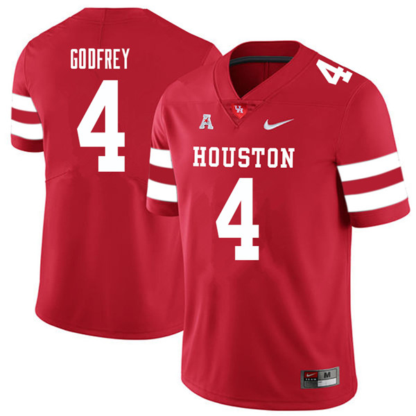 2018 Men #4 Leroy Godfrey Houston Cougars College Football Jerseys Sale-Red