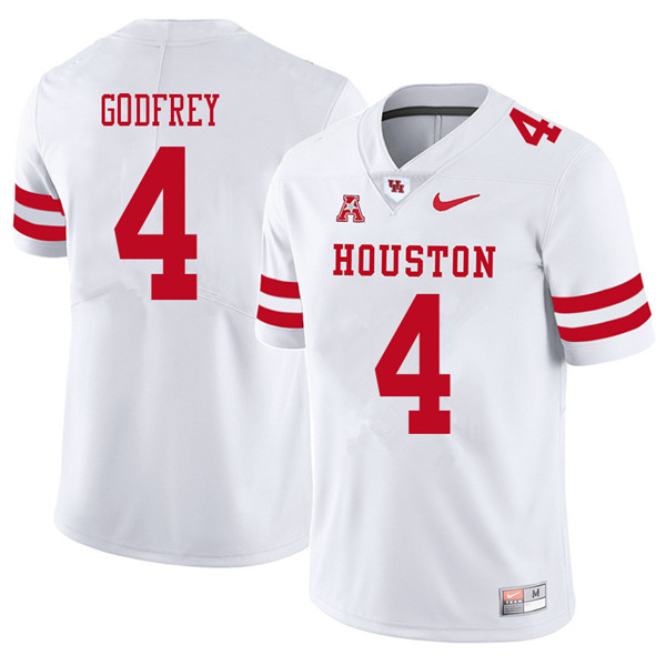 2018 Men #4 Leroy Godfrey Houston Cougars College Football Jerseys Sale-White