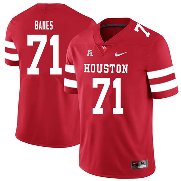 2018 Men #71 Max Banes Houston Cougars College Football Jerseys Sale-Red