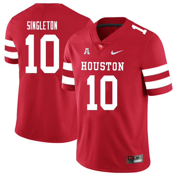 2018 Men #10 Raelon Singleton Houston Cougars College Football Jerseys Sale-Red