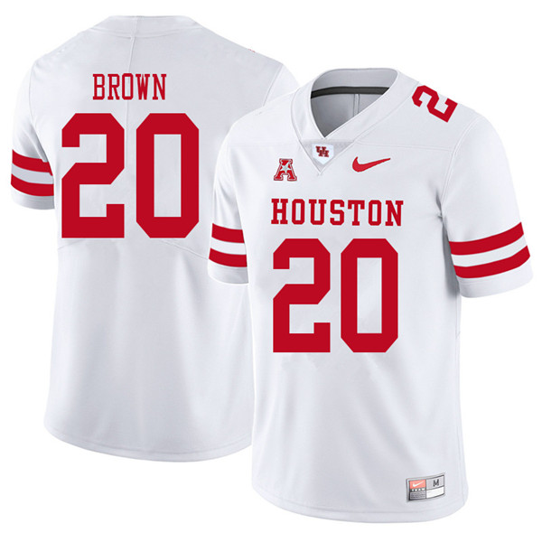 2018 Men #20 Roman Brown Houston Cougars College Football Jerseys Sale-White