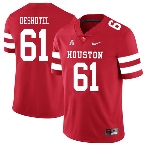 2018 Men #61 Ryan Deshotel Houston Cougars College Football Jerseys Sale-Red