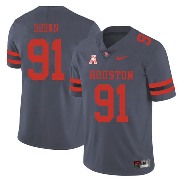 2018 Men #91 Tahj Brown Houston Cougars College Football Jerseys Sale-Gray