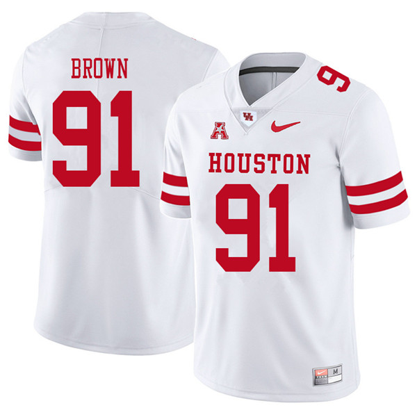 2018 Men #91 Tahj Brown Houston Cougars College Football Jerseys Sale-White