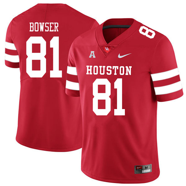 2018 Men #81 Tyus Bowser Houston Cougars College Football Jerseys Sale-Red
