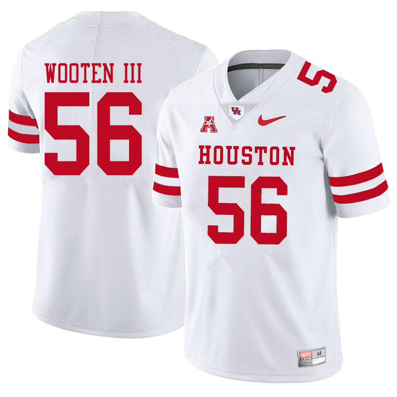 Men #56 Dixie Wooten III Houston Cougars College Football Jerseys Sale-White