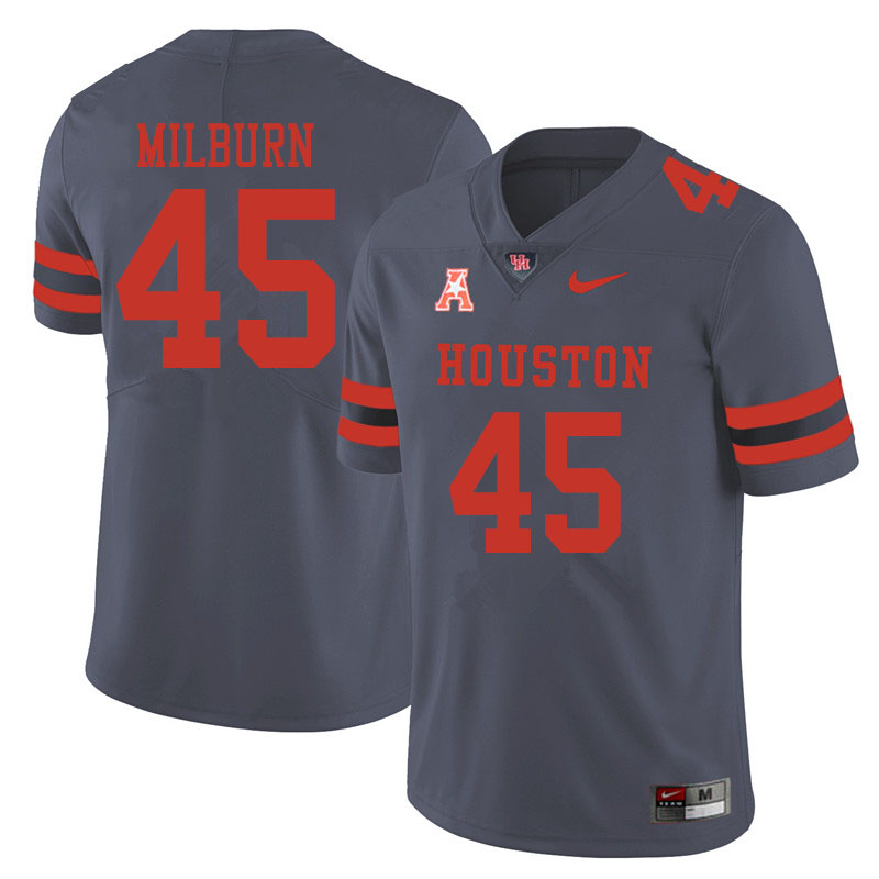 Men #45 Jordan Milburn Houston Cougars College Football Jerseys Sale-Gray