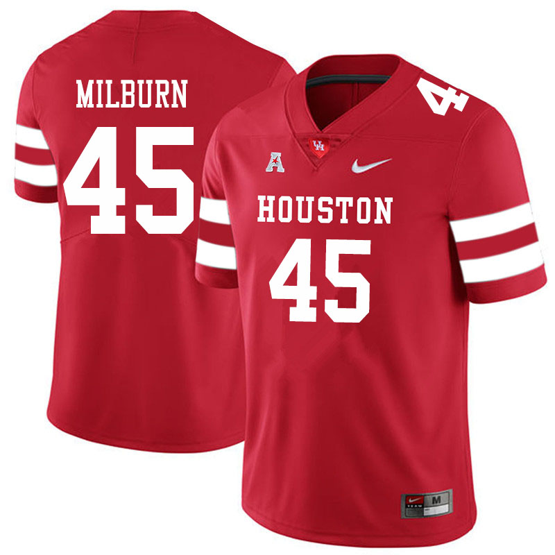 Men #45 Jordan Milburn Houston Cougars College Football Jerseys Sale-Red