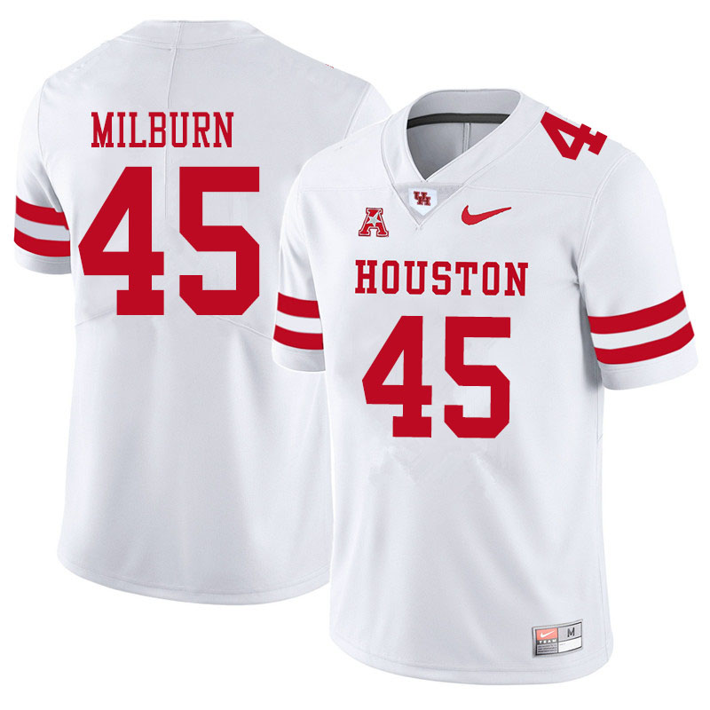 Men #45 Jordan Milburn Houston Cougars College Football Jerseys Sale-White