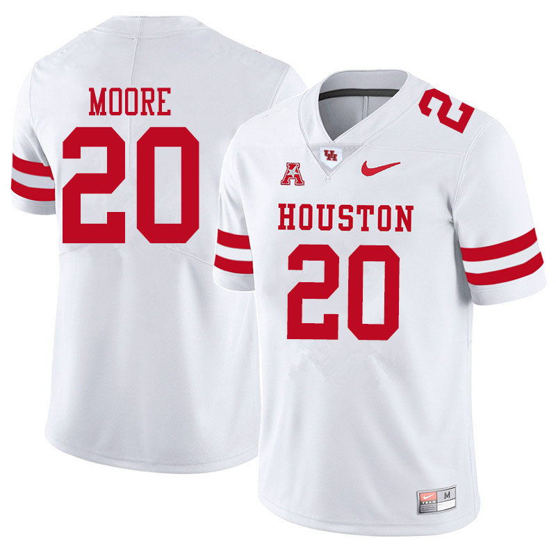 Men #20 Jordan Moore Houston Cougars College Football Jerseys Sale-White