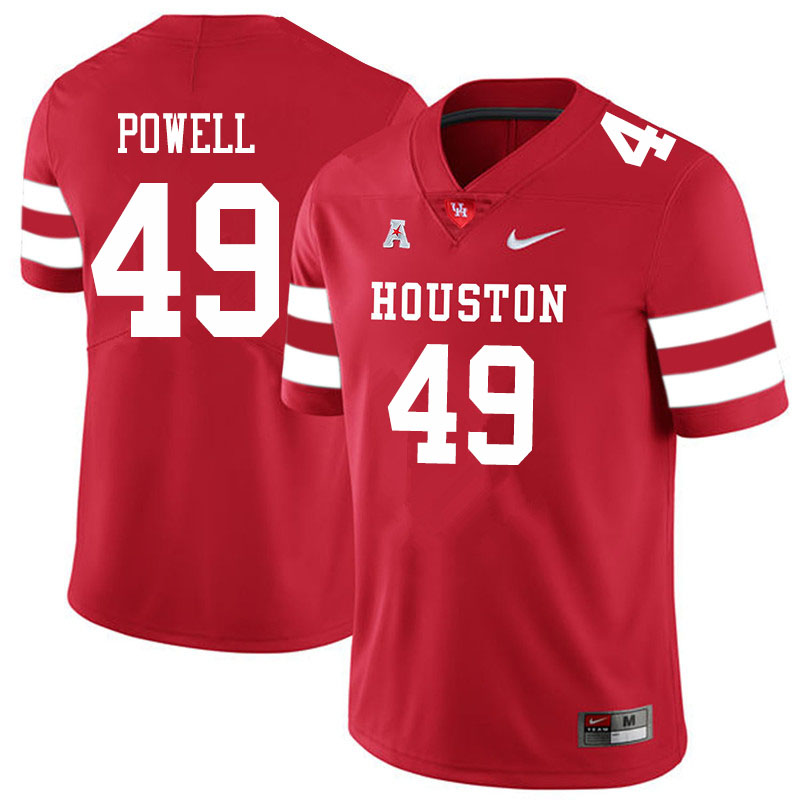 Men #49 Keandre Powell Houston Cougars College Football Jerseys Sale-Red