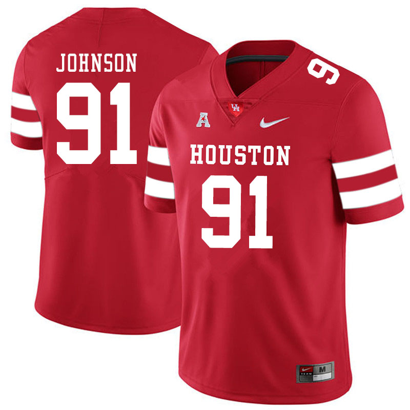 Men #91 Benil Johnson Houston Cougars College Football Jerseys Sale-Red