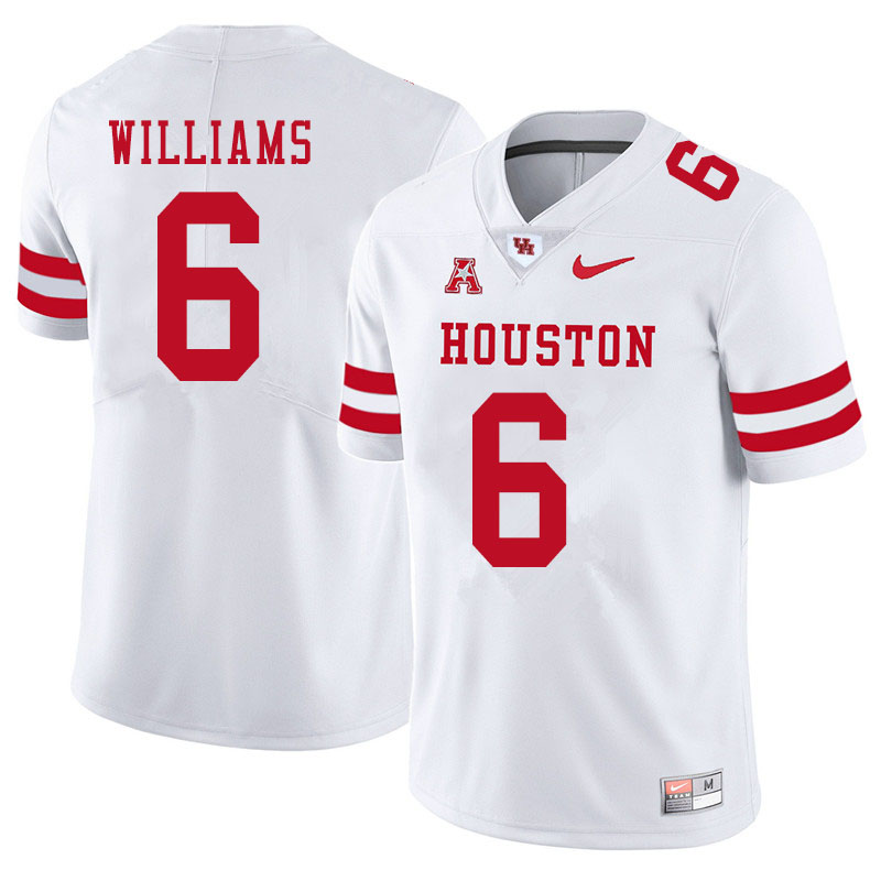 Men #6 Damarion Williams Houston Cougars College Football Jerseys Sale-White