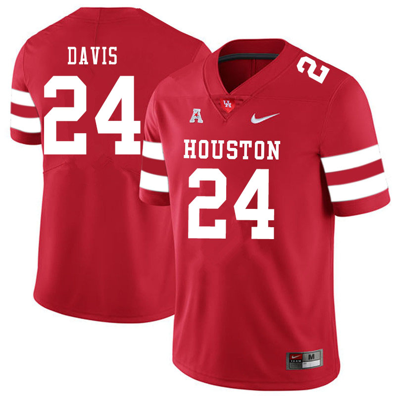 Men #24 Jaylen Davis Houston Cougars College Football Jerseys Sale-Red