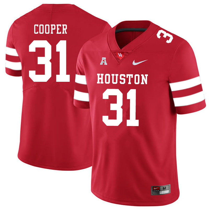 Men #31 Jordan Cooper Houston Cougars College Football Jerseys Sale-Red